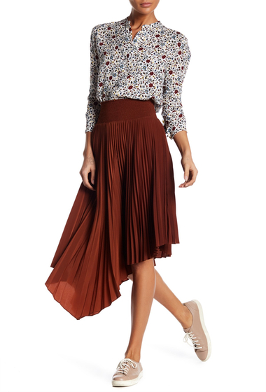 Imbracaminte Femei ALC Sofia Asymmetrical Pleated Skirt CHOCOLATE