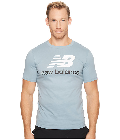 Imbracaminte Barbati New Balance Essentials Stacked Logo Tee Light Cyclone
