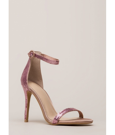 Incaltaminte Femei CheapChic Fancy Footwork Strappy Sequined Heels Mauve