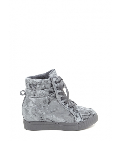 Incaltaminte Femei CheapChic Crushed It Velvet High-top Sneakers Grey
