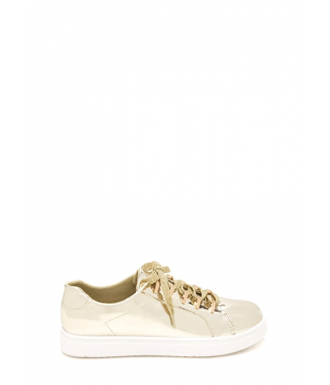 Incaltaminte Femei CheapChic Raising The Bars Faux Patent Sneakers Gold