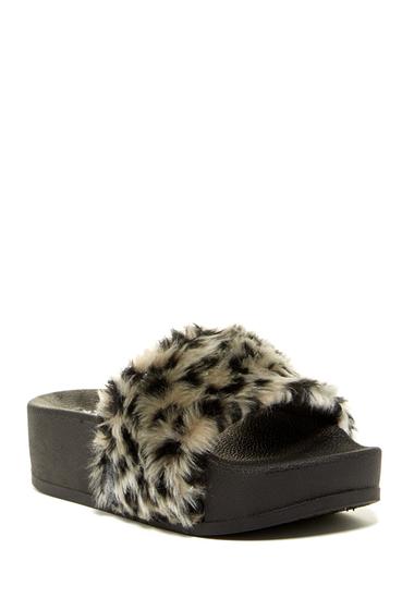 Incaltaminte Femei Jeffrey Campbell Lucky Me Faux Fur Platform Side Sandal WTLPD BLAK