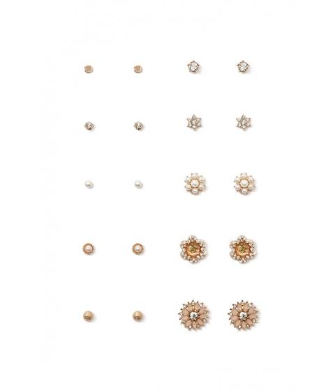 Bijuterii Femei Forever21 Flower Faux Gem Earring Set Goldpink