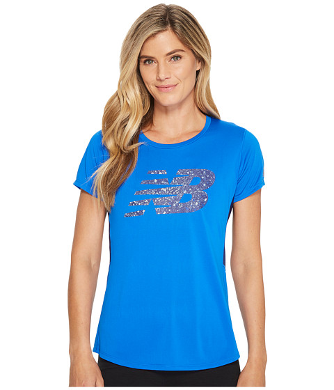Imbracaminte Femei New Balance Accelerate Short Sleeve Printed Vivid Cobalt