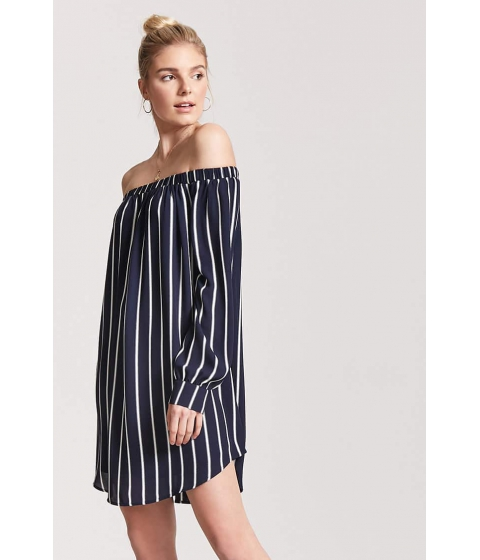 Imbracaminte Femei Forever21 Striped Off-the-Shoulder Dress NAVYWHITE