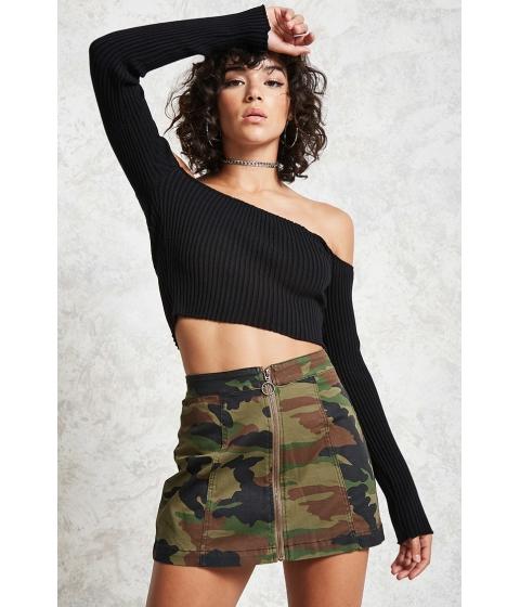 Imbracaminte Femei Forever21 Camo Zip-Front Mini Skirt Olivemulti