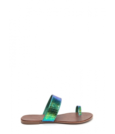 Incaltaminte Femei CheapChic On Your Toes Snakeskin Slide Sandals Green