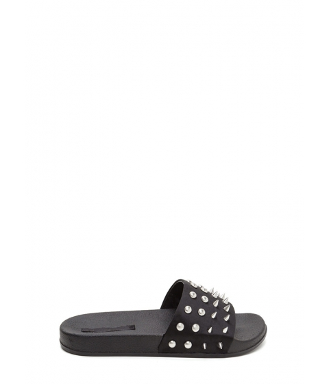 Incaltaminte Femei CheapChic Quick Stud-y Satin Slide Sandals Black