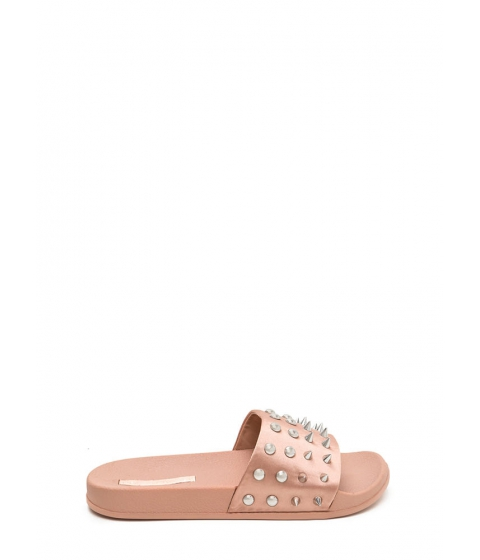 Incaltaminte Femei CheapChic Quick Stud-y Satin Slide Sandals Mauve