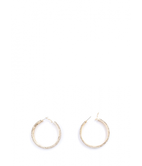 Bijuterii Femei CheapChic Modern Glamour Rhinestone Hoop Earrings Gold