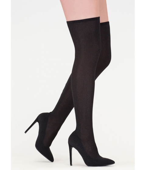 Incaltaminte Femei CheapChic Time To Shine Glitzy Thigh-high Boots Black