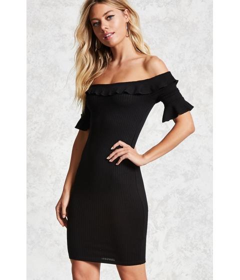 Imbracaminte Femei Forever21 Ribbed Knit Flounce Dress Black