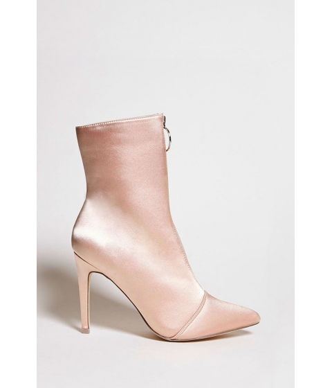 Incaltaminte Femei Forever21 Satin Ring Pull Zipper Boots Nude