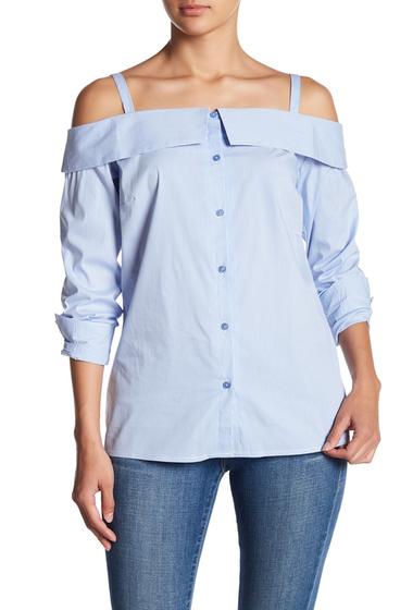 Imbracaminte Femei Como Vintage Cold Shoulder Business Blouse BLUE-WHT S