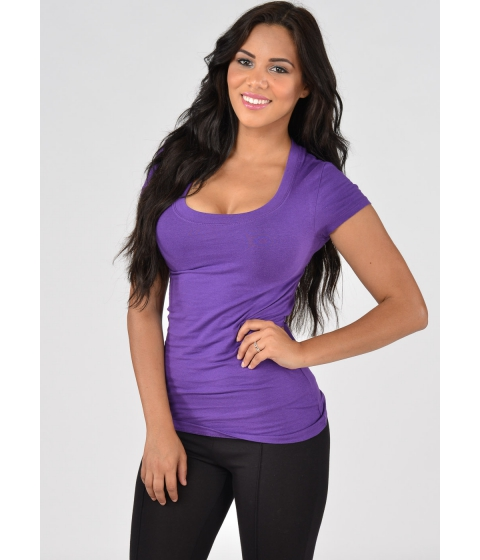 Imbracaminte Femei CheapChic Scoop Neck Basic T-Shirt (Purple) Multicolor