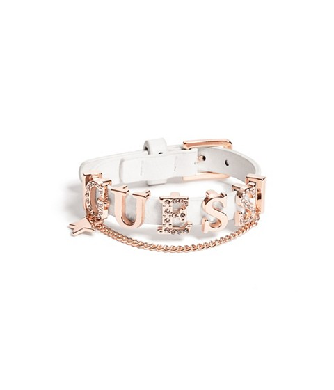 Bijuterii Femei GUESS White and Rose Gold-Tone Logo Friendship Bracelet white