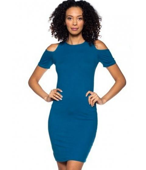 Imbracaminte Femei CheapChic Teal Cold Shoulder Short Sleeve Knee Length Dress Multicolor