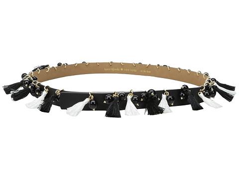 Accesorii Femei Kate Spade New York 78quot Saffiano Tassel and Bead Belt Black 1