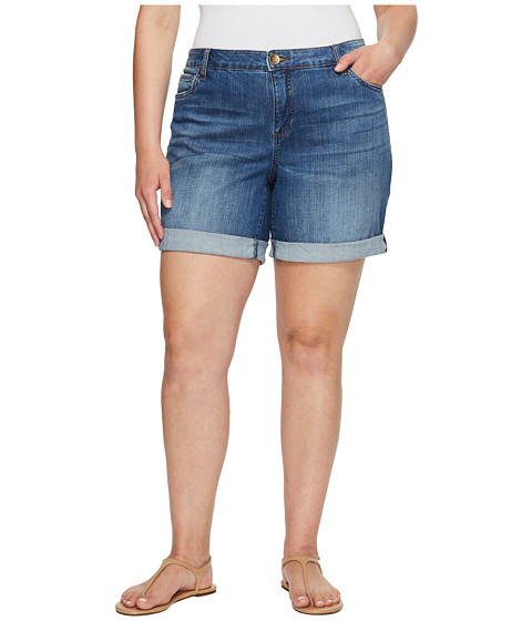 Imbracaminte Femei KUT from the Kloth Plus Size Catherine Boyfriend Roll Up Shorts in FeminineMedium Base Wash FeminineMedium Base Wash