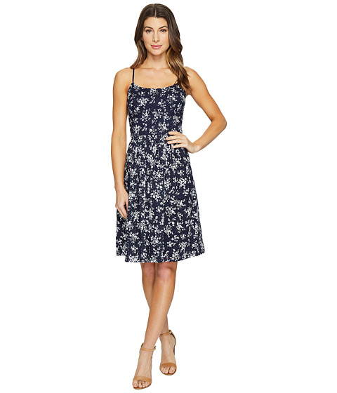 Imbracaminte Femei Maggy London Petite Sprig Printed Eyelet Fit and Flare Dress NavySoft White