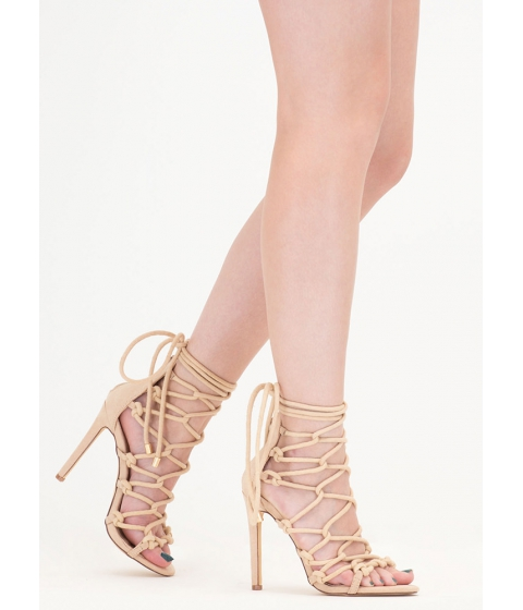 Incaltaminte Femei CheapChic Believe It Or Knot Looped Lace-up Heels Nude
