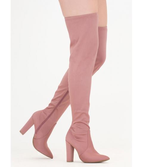 Incaltaminte Femei CheapChic Go Chunky Satin Thigh-high Boots Dkblush