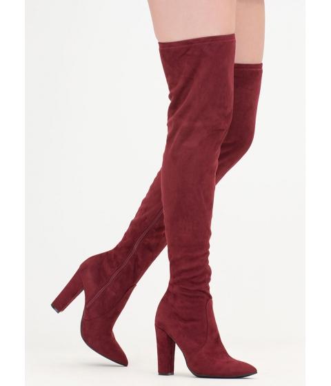 Incaltaminte Femei CheapChic Go Chunky Faux Suede Thigh-high Boots Burgundy