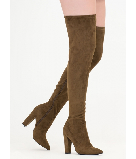 Incaltaminte Femei CheapChic Go Chunky Faux Suede Thigh-high Boots Olive