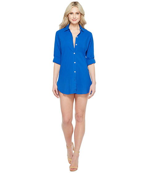 Imbracaminte Femei Tommy Bahama Crinkle Boyfriend Shirt Cover-Up Old Royal