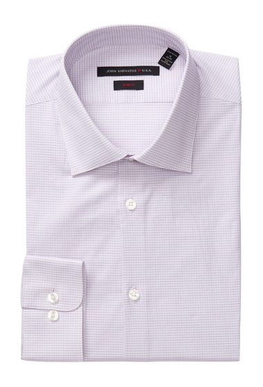 Imbracaminte Barbati John Varvatos Patterned Slim Fit Dress Shirt PLUM