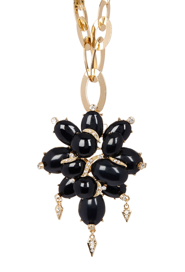 Bijuterii Free Press Statement Flower Pendant Necklace BLACK-CLEAR-GOLD