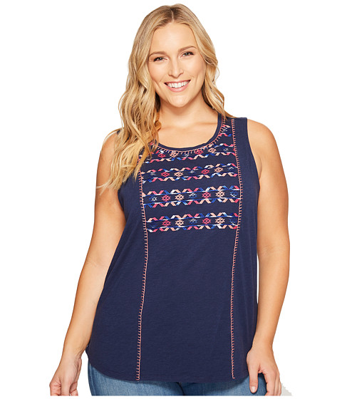 Imbracaminte Femei Lucky Brand Plus Size Geo Embroidered Tank Top Medieval Blue