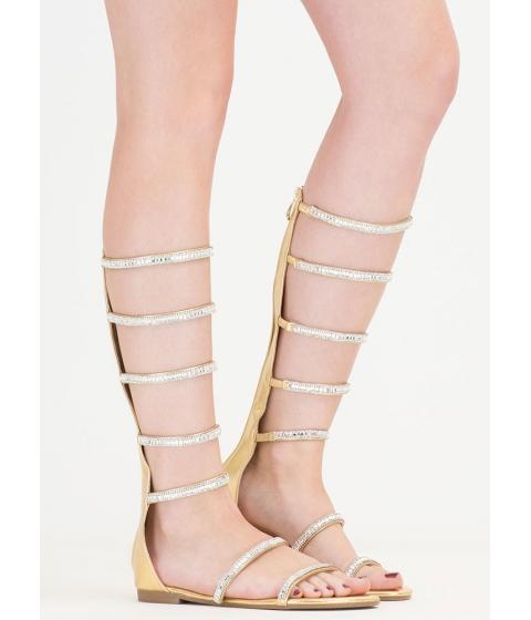 Incaltaminte Femei CheapChic Bling Battle Metallic Gladiator Sandals Gold