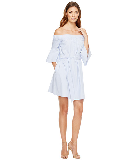Imbracaminte Femei Donna Morgan Off Shoulder Bell Sleeve Dress with CF Inverted Pleat BlueWhite