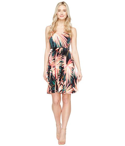Imbracaminte Femei Maggy London Techno Palm Jersey Pleated Fit amp Flare Dress Soft WhiteOrange
