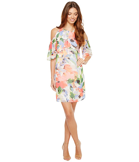 Imbracaminte Femei Maggy London Chiffon Print Cold-Shoulder Shift Dress Soft WhiteBright Pink