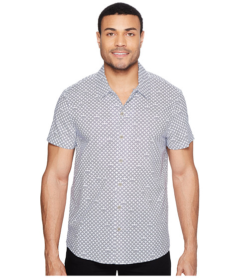 Imbracaminte Barbati Kenneth Cole Short Sleeve Arch Camp Shirt Gesso Combo
