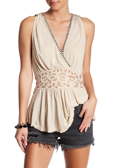 Imbracaminte Femei Free People Megan Embroidered Peplum Tank CREAM