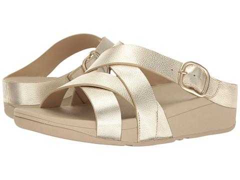 Incaltaminte Femei FitFlop The Skinny Crisscross Slide Pale Gold