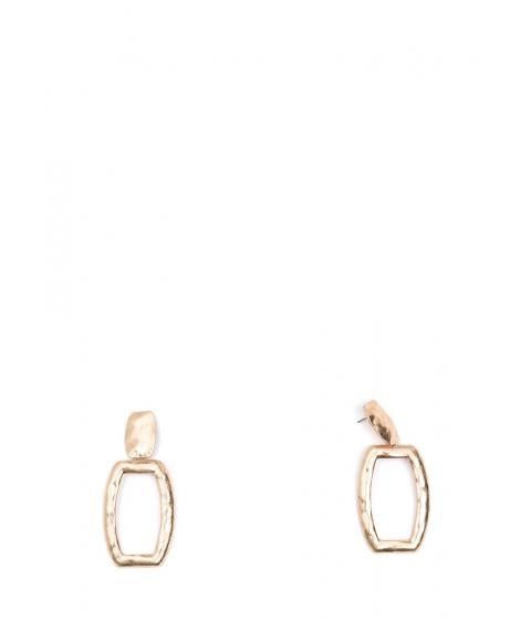 Bijuterii Femei CheapChic Hammered Time Cut-out Rectangle Earrings Gold
