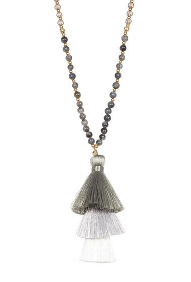 Bijuterii Femei Panacea Long Beaded Necklace with Stacked Tassel Pendant GREY STACKED TASSEL PEND