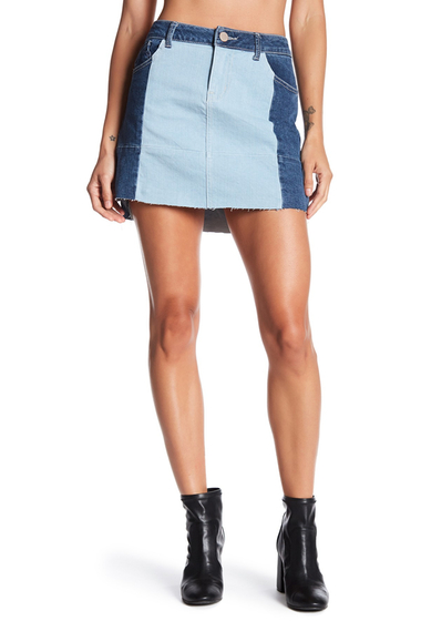Imbracaminte Femei Jolt Patchwork Raw Edge Denim Skirt BLUE