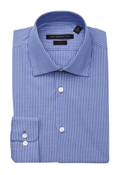 Imbracaminte Barbati John Varvatos Patterned Slim Fit Dress Shirt COBALT