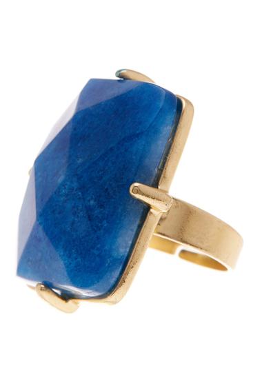 Bijuterii 14th Union Rectangle Stone Ring - Size 7 LAPIS-GOLD
