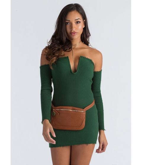 Imbracaminte Femei CheapChic U Got It Ribbed Off-shoulder Dress Olive