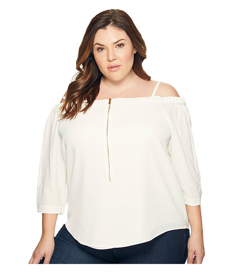 Imbracaminte Femei Calvin Klein Plus Size Off the Shoulder Top with Zipper Soft White