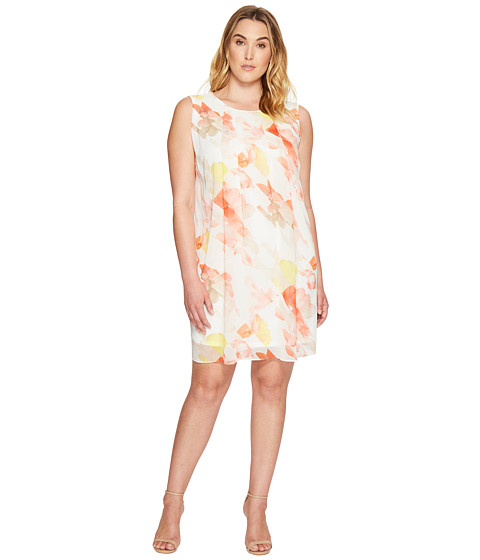 Imbracaminte Femei Calvin Klein Plus Size Pleat Front A-Line Dress Porcelain RoseSoft White Multi