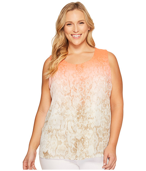 Imbracaminte Femei Calvin Klein Plus Size Sleeveless Print Top with Chiffon Overlay Porcelain Rose Multi