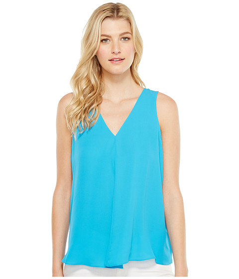Imbracaminte Femei Vince Camuto Sleeveless V-Neck Drape Front Blouse Havana Blue