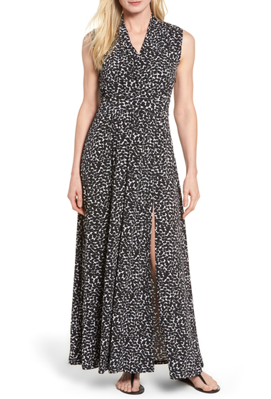 Imbracaminte Femei MICHAEL Michael Kors Mini Finy Faux Wrap Maxi Dress Regular Petite BLACK